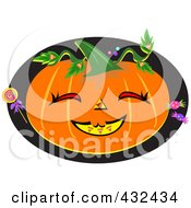 Happy Halloween Pumpkin With Candy On A Black Oval