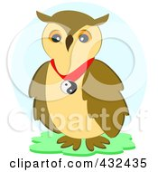 Royalty Free RF Clipart Illustration Of A Peace Owl Over A Blue Oval by bpearth