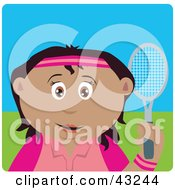 Clipart Illustration Of A Mexican Girl Holding A Tennis Racket