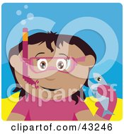 Clipart Illustration Of A Hispanic Girl Snorkeling And Holding A Fish by Dennis Holmes Designs