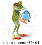 Royalty Free RF Clipart Illustration Of A 3d Springer Frog Holding A Water Droplet 1 by Julos