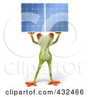 Royalty Free RF Clipart Illustration Of A 3d Springer Frog Holding A Solar Panel 4