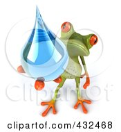 Royalty Free RF Clipart Illustration Of A 3d Springer Frog Holding A Water Droplet 2