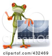 Royalty Free RF Clipart Illustration Of A 3d Springer Frog Holding A Solar Panel 5