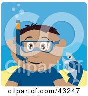 Clipart Illustration Of A Hispanic Boy Snorkeling And Holding A Fish by Dennis Holmes Designs