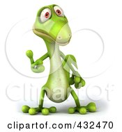 Royalty Free RF Clipart Illustration Of A 3d Green Lizard Holding A Thumb Up by Julos