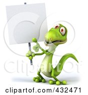 Royalty Free RF Clipart Illustration Of A 3d Green Lizard Holding And Pointing To A Blank Sign by Julos