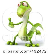 Royalty Free RF Clipart Illustration Of A 3d Green Lizard Holding A Thumbs Up by Julos