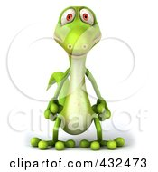 Royalty Free RF Clipart Illustration Of A 3d Green Lizard by Julos