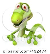Royalty Free RF Clipart Illustration Of A 3d Green Lizard Smiling Over A Blank Sign by Julos