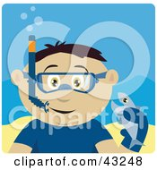 Clipart Illustration Of A Mexican Boy Snorkeling And Holding A Fish by Dennis Holmes Designs