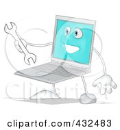 Laptop Holding A Wrench - 2