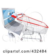 3d White Laptop Character Facing Right And Pushing A Shopping Cart