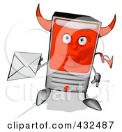 Royalty Free RF Clipart Illustration Of A Devil Cartoon Computer Tower Holding An Envelope 5