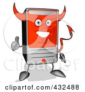 Royalty Free RF Clipart Illustration Of A Devil Cartoon Computer Tower Holding A Thumb Up