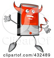 Royalty Free RF Clipart Illustration Of A Devil Cartoon Computer Tower Jumping