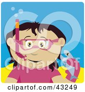 Clipart Illustration Of A Mexican Girl Snorkeling And Holding A Fish by Dennis Holmes Designs