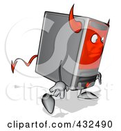 Royalty Free RF Clipart Illustration Of A Devil Cartoon Computer Tower Walking Away