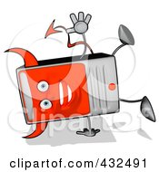 Royalty Free RF Clipart Illustration Of A Devil Cartoon Computer Tower Doing A Hand Stand