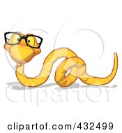 Royalty Free RF Clipart Illustration Of A Yellow Cartoon Snake With Glasses
