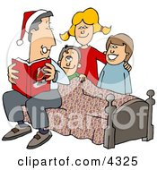 Father Reading A Bedtime Christmas Story To His Sons And Daughter Clipart