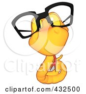 Royalty Free RF Clipart Illustration Of A Yellow Cartoon Snake Wearing Glasses