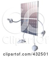 Royalty Free RF Clipart Illustration Of A 3d Solar Panel Character Facing Left And Pointing