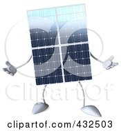 Royalty Free RF Clipart Illustration Of A 3d Solar Panel Character Facing Front And Gesturing