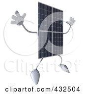 Royalty Free RF Clipart Illustration Of A 3d Solar Panel Character Facing Right And Jumping