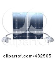 Royalty Free RF Clipart Illustration Of A 3d Solar Panel Character Holding Up A Blank Sign