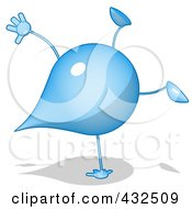 Royalty Free RF Clipart Illustration Of A Water Droplet Cartoon Character Doing A Hand Stand