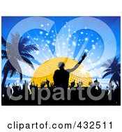 Royalty Free RF Clipart Illustration Of A Silhouetted Crowd On The Dance Floor Below A Male Dj In Front Of A Golden Disco Ball On A Blue Bursting Background With Palm Trees