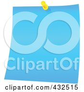 Royalty Free RF Clipart Illustration Of A Blue Memo Note With A Yellow Push Pin