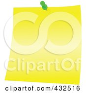 Royalty Free RF Clipart Illustration Of A Yellow Memo Note With A Green Push Pin