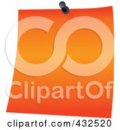 Royalty Free RF Clipart Illustration Of An Orange Memo Note With A Black Push Pin