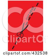 Royalty Free RF Clipart Illustration Of A Pair Of Scissors Cutting On The Dotted Line Over Red by michaeltravers