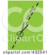 Royalty Free RF Clip Art Illustration Of A Pair Of Scissors Cutting On The Dotted Line Over Green by michaeltravers