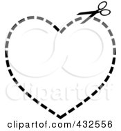 Pair Of Scissors Cutting On A Dotted Line In The Shape Of A Heart