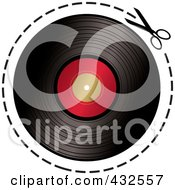 Royalty Free RF Clipart Illustration Of A Pair Of Scissors Cutting On A Dotted Line Around A Vinyl Record by michaeltravers