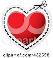 Pair Of Scissors Cutting On A Dotted Line Around A Red Heart