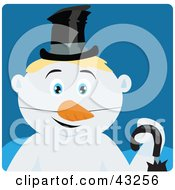 Clipart Illustration Of A Snowman With Blond Hair And Blue Eyes