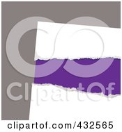 Royalty Free RF Clipart Illustration Of Purple Showing Through Ripped White Paper On Gray