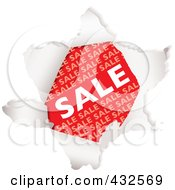 Royalty Free RF Clipart Illustration Of A Red Sale Advertisement Through Torn Paper