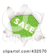 Royalty Free RF Clipart Illustration Of A Green Sale Advertisement Through Torn Paper by michaeltravers