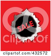 Royalty Free RF Clipart Illustration Of A Sale Hole Through Red Paper by michaeltravers