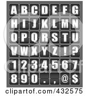 Royalty Free RF Clipart Illustration Of A Digital Collage Of Ticker Board Alphabet Letters And Symbols by michaeltravers