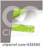 Royalty Free RF Clipart Illustration Of A Green And White Paper Corner With Slot On Gray by michaeltravers