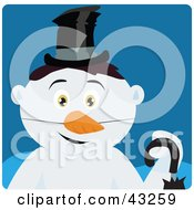 Clipart Illustration Of A Snowman With Black Hair And Green Eyes