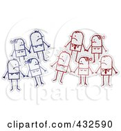 Royalty Free RF Clipart Illustration Of Groups Of Stick People Staring At Their Opponents On Graph Paper