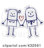 Happy Stick Couple Holding Hands On Graph Paper